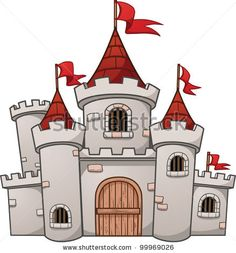 stock vector : Cute cartoon castle. Vector illustration with simple gradients. All in a single layer.