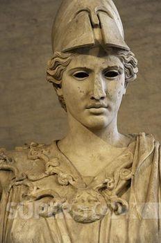 Stock Photo #4409-96828, ARTE GRIEGO. EPOCA CLASICA. GRECIA. Busto de Atenea. Escultura romana en marmol de un original griego de alrededor 420 antes de Cristo. Glyptothek. Munich. Alemania. Europa.