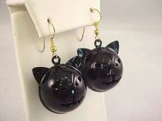 """Vintage 1990s Halloween Black Enamel Kitty Cat Jingle Bell Faces Dangle Pierced Earrings. Unmarked.1"""" in diameter round not including the ear tips.No enamel chips.Clean and in excellent vintage condition! $14.95"""