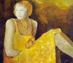 yellow - woman - dress - Margaret Egan - figurative painting