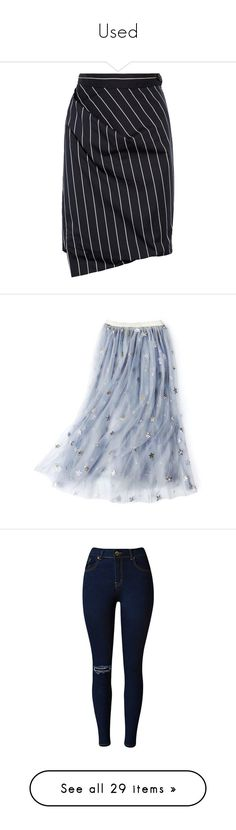 """""""Used"""" by martesaltroo on Polyvore featuring skirts, bottoms, vivienne westwood, saias, navy, stripe skirt, navy blue knee length skirt, navy blue pleated skirt, navy striped skirt and navy skirt"""