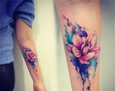 Lower Sleeve Colorful Ink Nice Looking 3D Flower Tattoo