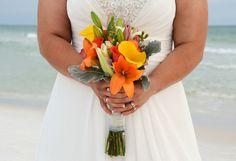 Tropical style bouquet perfect for a beach wedding. Dune Allen Beach, Florida destination beach wedding.