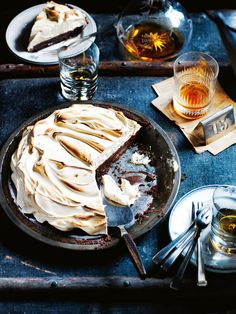 chocolate and whiskey cream pie with toffee meringue