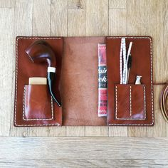 Leather Pipe Pouch, Brown - Pipe bag - Pipe holder - Pipe roll - tobacco pouch - , Personalized
