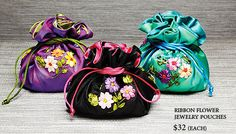 Ribbon Flower Jewelry Pouches