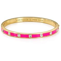 kate spade new york Stone Hinge Bangle ($51) ❤ liked on Polyvore featuring jewelry, bracelets, fluorescent pink, stone bangles, pink jewelry, neon pink jewelry, kate spade bangle and neon bangles