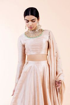 The Classic top x Classic Skirt Shop this look in Rose gold. Indian Gowns Dresses, Indian Fashion Dresses, Indian Designer Outfits, Pakistani Dresses, Choli Designs, Lehenga Designs, Indian Wedding Outfits, Indian Outfits, Indian Clothes