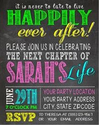 Personalized Divorce Party Invitation - Colorful Chalkboard - Newly single - Newly UN Wed - Celebrate the next chapter in your life!