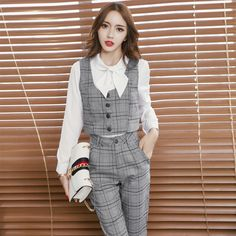 Women Grid Vest Slim Pants Clothing Set Leisure Office Fashion Casual Suits Pants Two-Piece Woman Trousers Costume Outfit Sets