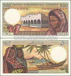 Comoros currency. Nice to see money with African images; not something we were exposed to as children in America.