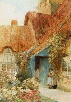 A Young Girl Outside Cottage Ernest Walbourn English 1872 1927 Garden PaintingPainting