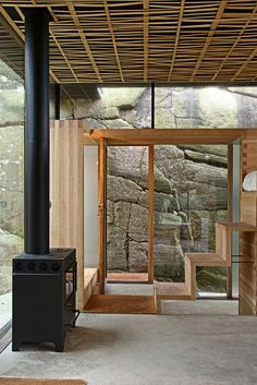 Interior design. Yes, I know the chances of having beautiful rocks such as this is slim to none, but the ceiling finish, wood and windows are also beautiful.