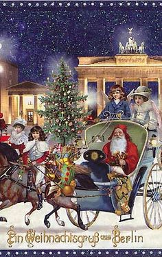 Old fashioned Christmas postcard from Berlin, Germany