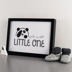 Peek-A-Boo Panda Monochrome Print