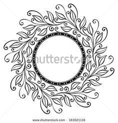 Beautiful Deco Floral Circle, Patterned frame