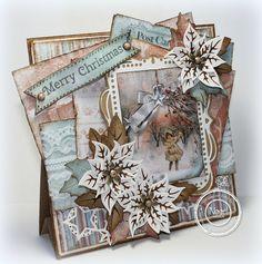 "Ineke""s Creations: Nieuwe artikelen en Bloghop Christmas Cards 2018, 3d Christmas, Vintage Christmas Cards, Xmas Cards, Vintage Cards, Handmade Christmas, Xmas Theme, Theme Noel, Poinsettia Cards"