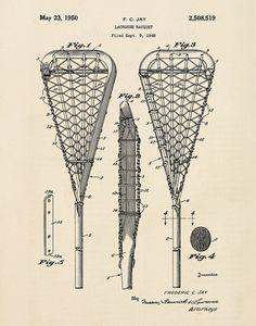 Lacrosse Stick Vintage Patent Print 1 by michaelellisstudios