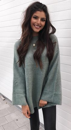#winter #fashion Gray fluffy sweater with long wide sleeves