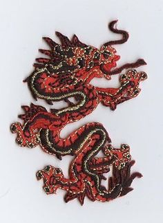 Iron On Embroidered Applique Patch Chinese Small Red and Black Dragon