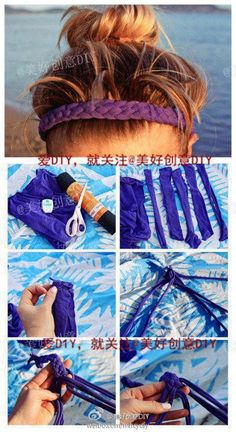 Hairband- old t shirt, 4 strand braid, sewn together at ends