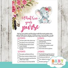 Set the stage for a fun party with these Boho Floral Elephant Baby Shower Games. The elephant themed baby shower games feature an adorable baby girl elephan