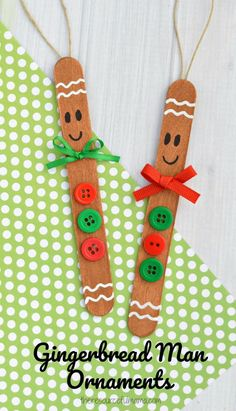 Transform basic craft sticks into this super cute gingerbread man ornament for your Christmas tree. #theresourcefulmama #ornaments #craftsforkids #kidcrafts #ChristmasCrafts