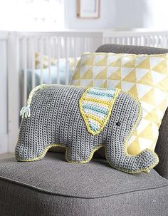 If you know a little person in need of a snuggly crocheted friend, then look no further than Fun Animal Pillows! Inside you'll find instructions for nine great big, whimsical animal buddies, and to say they're cute is a great big understatement! Crochet Owl Pillows, Crochet Pillow Patterns Free, Knit Pillow, Floral Pillows, Elephant Pillow, Baby Elephant, Crochet Baby Toys, Crochet Animals, Crochet Elephant Pattern