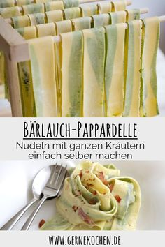 Recipe: Pappardelle with wild garlic - gernekochen.de - Pappardelle with wild garlic are the harbingers of spring. We worked whole herbs into the pasta. Cauliflower Recipes, Veggie Recipes, Pasta Recipes, Summer Grilling Recipes, Spring Recipes, Kenwood Cooking, Good Food, Yummy Food, Wild Garlic