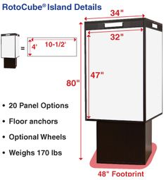 RotoCube Rotating Bulletin Towers give you a full wall sq. ft) of whiteboard, fabric, cork, card and photo display panels on a rotating kiosk.