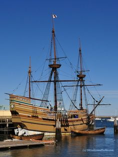 Mayflower II - Replica of the historic ship that brought the Pilgrims to America - Plymouth, MA - photo by B N Sullivan 9 of my ancestors were on the original Mayflower. Plymouth Rock, May Flowers, Tall Ships, Architecture Design, East Coast, Sailing Ships, New England, American History, Pirate Ships