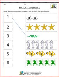 Our new update of preschool math worksheets free set is available on this page! We have a bunch of free and printable math activity pages for preschool children to learn math and numbers. Worksheets For Playgroup, Math Fractions Worksheets, Free Printable Math Worksheets, Free Kindergarten Worksheets, Preschool Math, Matching Worksheets, Numbers Preschool, Learning Numbers, Maths Paper