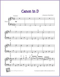 Canon in D (Pachelbel) | Sheet Music for Piano - http://makingmusicfun.net/htm/f_printit_free_printable_sheet_music/canon-in-d.htm