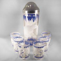 Polar Bear & Ice  Vintage Cocktail Shaker, Ice Bucket, Juice and Drinking Glasses