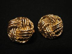 Vintage Gold Tone Round Braided Knot Clip Earrings by ditbge, $7.00