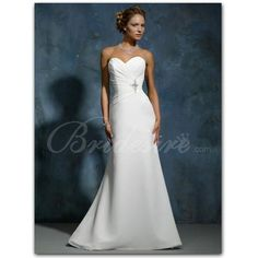 Bridesire - A-line Strapless Sleeveless Court Train Chiffon Wedding Dress [20291117] - US$172.99 : Bridesire