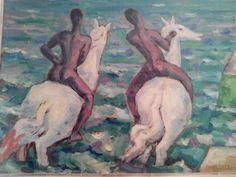 """Moses Levy [(Tunisi 1885 - Viareggio (Lu) 1968], """"Cavalli sulla spiaggia"""""""