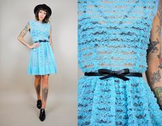 ruffle LACE vtg 50's dolly DRESS sheer striped by NOIROHIOVINTAGE