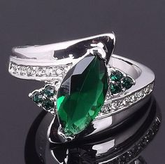 Green Emerald 18K White Gold Filled Ring Stamp 10KT by KBoydsGifts, $29.95