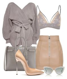 """Smokey"" by minkstyles ❤ liked on Polyvore featuring Balmain, River Island, Topshop, Dita, Yves Saint Laurent and Casadei"