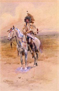 Mandan Warrior  - Charles M. Russell