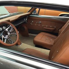 Mustang, but the theme could work in a Miata. =) 67 mustang fastback grey with camel interior. Camaro Interior, Mustang Interior, Car Interior Upholstery, Automotive Upholstery, Custom Car Interior, Truck Interior, Mustang Fastback, 65 Mustang, American Classic Cars