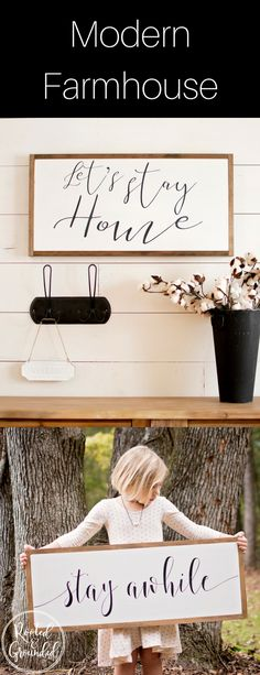 wood signs for home| wood signs for home farmhouse style | lets stay home sign wall decor | stay awhile sign | stay awhile sign entry | cozy home wall art | farmhouse signs joanna gaines | modern farmhouse decor | modern farmhouse decor joanna gaines wall art