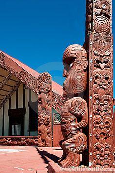 A Tekoteko is a Maori Statue, outside the Ohinemutu Wharenui, which is a Meeting House ~ Rotorua, New Zealand