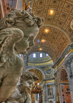 Cherub Angels overlooking the Baldacchino of St. Peter's Basilica, Vatican (by msmith_az).