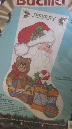 "Santa's Toys Stocking Counted Cross Stitch Kit 82914 Bucilla 19"" diagonal 1991 #Bucilla #Stocking"