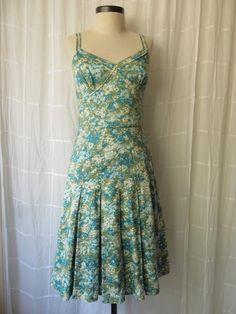449d99f0fe45b Green & Blue Floral Sundress 50s Vintage Style Hawaiian Style Dress Extra  Small Petite 34
