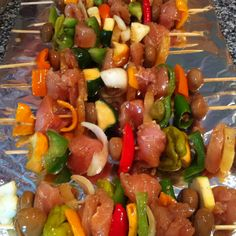 My favorite kabobs minus mushrooms, hate mushrooms