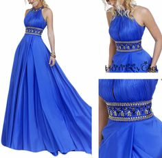 Halter Rhinestone Prom Dress,Blue Prom Dress,Elegant Prom Dress,Long Beaded Prom Dress,Modest Party Dress , fashion gowns