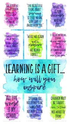 Monday Morning Quotes Discover Quotes about the joy of learning Be inspired to be a learner and a teacher everyday with these quotes about learning. Free watercolor quotes about the joy of learning. Quotes About Children Learning, Teaching Quotes, Education Quotes, Inspirational Quotes About Learning, Being A Teacher Quotes, Quotes About Teachers, Quotes About Kids, Kindergarten Teacher Quotes, Teacher Encouragement Quotes